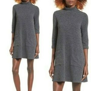 EVERLY Mock Neck Sweater Shift Dress 3/4 Sleeve